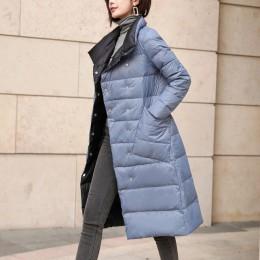 Invierno blanco pato abajo chaquetas acolchadas doble desgaste abajo abrigo mujer moda elegante doble pecho largo Parka abrigo f