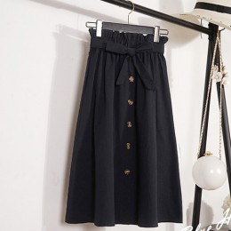 Verano otoño Faldas Mujer 2018 Midi hasta la rodilla coreano elegante botón falda de cintura alta Mujer plisada falda escolar