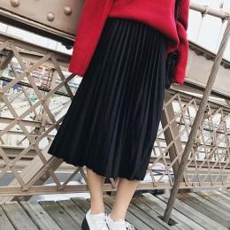 Primavera 2019 mujeres largo metálico plata Maxi Falda plisada Falda Midi cintura alta Elascity Casual falda de fiesta