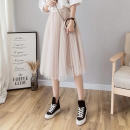 Faldas de tul para mujer Midi Falda plisada negro Rosa tul Falda Mujer 2019 Primavera Verano coreano elástico cintura alta malla