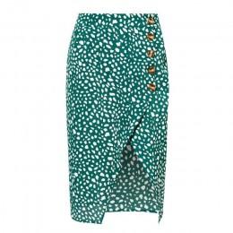 Conmoto alta cintura Split Midi Faldas Mujer botón verde leopardo Dot estampado Casual Chic verano falda Sexy alta moda Boho fal