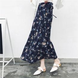 25 colores 2019 Bohemian alta cintura Floral estampado verano Faldas Mujer Boho asimétrico gasa falda Maxi faldas largas para mu