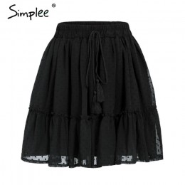 Simplee Casual polka dot mini falda de mujer de cintura alta A línea coreana borla Rosa falda de verano Sexy colmena playa femen