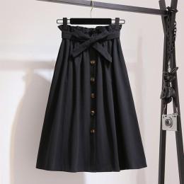Faldas de mujer moda 2019 falda de cintura alta para mujer Primavera Verano faldas Midi para mujer cintura elástica una línea de