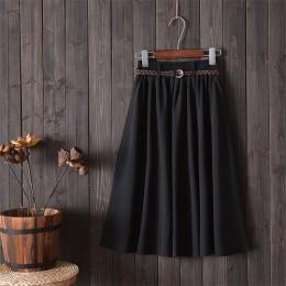 Surmiitro Midi hasta la rodilla falda de verano de mujer con cinturón 2019 moda coreana señoras de alta cintura plisada A-line f