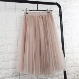 TingYiLi faldas de tul para mujer negro gris blanco adulto falda de tul elástico de cintura alta Falda Midi plisada 2016