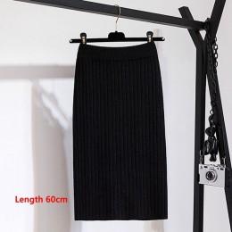 Gigogogou 60-80CM banda elástica mujeres faldas otoño invierno cálido tejido Falda recta acanalado medio-largo falda negro