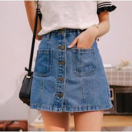 Falda de mezclilla de cintura alta Mini faldas de línea a para mujer 2019 verano recién llegados bolsillos de un solo botón fald