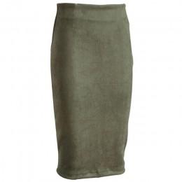 Sainishi Super ofertas mujeres gamuza Color sólido lápiz Falda Mujer primavera otoño básica alta cintura Bodycon Split rodilla l