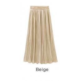Falda plisada de verano otoño para mujer falda Vintage de cintura alta faldas largas sólidas nueva falda metálica de moda femeni