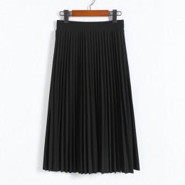Primavera y otoño nueva moda mujer alta cintura plisada Color sólido media longitud falda elástica promociones señora negro rosa