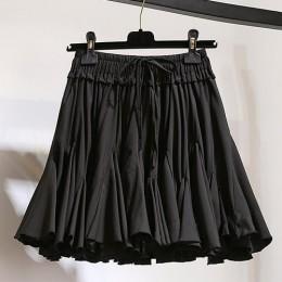 Surmiitro blanco negro gasa verano Pantalones cortos Falda Mujer 2019 moda coreana alta cintura tutú plisado Mini falda de la es