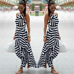 Vestido de verano de las mujeres Boho Sexy sin mangas a rayas largo Maxi Vestido de playa estilo Correa vestido de Vestidos para