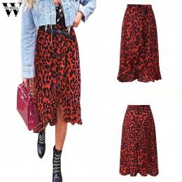 Falda de mujer de verano estampado de leopardo Vintage larga de mujer Casual de cintura alta plisada falda de moda nueva 2019 dr