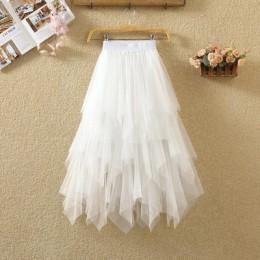Faldas de tul irregulares a la moda de cintura alta elástica falda tutú de malla plisada Faldas largas Falda Midi Saias Faldas J