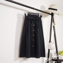 CRRIFLZ verano otoño Faldas Mujer 2019 Midi hasta la rodilla coreano elegante botón falda de cintura alta Mujer plisada falda es