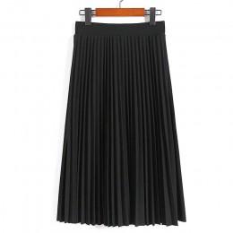 Moda de mujer de cintura alta plisada de Color sólido de media pantorrilla falda alargada todo-fósforo de gasa Ropa de señora Ca