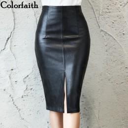 Colorfaith 2019 mujeres de cuero de la PU Midi falda Otoño Invierno de las señoras paquete cadera frontal o hendidura falda Plus