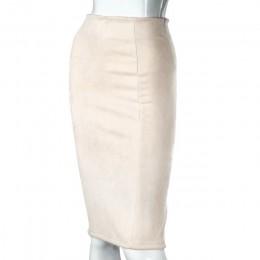 Aonibeier mujeres gamuza Color sólido lápiz Falda Mujer Otoño Invierno alta cintura Bodycon Vintage Split gruesa faldas elástica