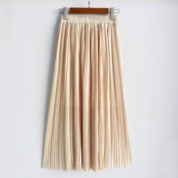 Hermicci 2018 verano plisado hasta el tobillo Maxi Falda larga Vintage mujer falda metálica