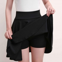 Surmiitro más el tamaño 4XL pantalones cortos faldas mujeres 2019 verano A línea sol escuela alta cintura plisada falda femenina