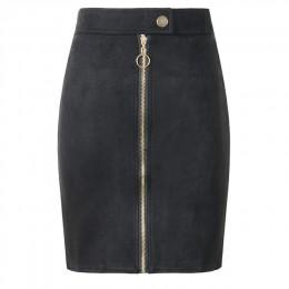 Minifaldas de tubo de gamuza de mujer Neophil Estilo Vintage para mujer 2019 de invierno con botón de cremallera frontal para Mu