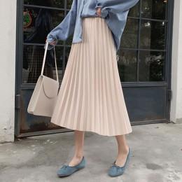 Surmiitro elegante sólido Midi plisado Falda Mujer 2019 Otoño Invierno señoras coreano alta cintura A-line escuela Falda larga M
