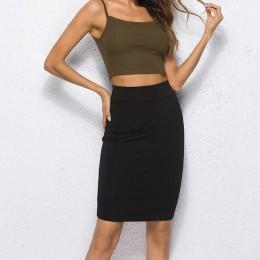 Falda de mujer negra sólida estirada Bodycon recta falda de mujer Casual trabajo OL Oficina mujeres falda verano Sexy Jupe