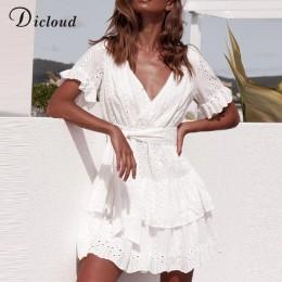 DICLOUD blanco bordado vestidos de algodón verano mujeres de manga corta Casual playa vestido Sexy V cuello ahuecado Mini vestid