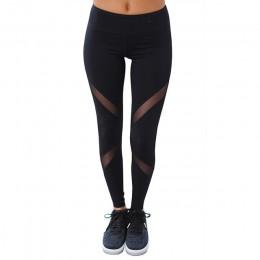 S-XL Mujeres Sexy Leggings Gothic Insertar Mesh Diseño Pantalones Pantalones Más El Tamaño Negro Capris Ropa Deportiva 2017 Nuev