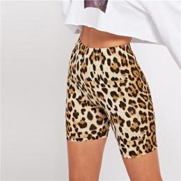 SHEIN Multicolor Casual Highstreet leopardo estampado Delgado Legging corto verano moderna señora Athleisure mujeres pantalones