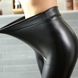 Bivigeos moda mujer PU pantalones de cuero alta cintura elástica mallas no agrietadas polainas de cuero delgadas pantalones de l