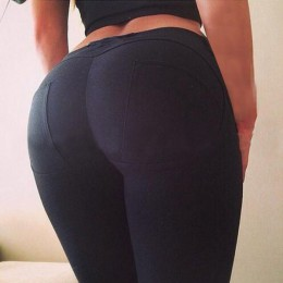 Leggings de alta calidad de cintura baja con Push Up elásticos casuales para mujer Pantalones sexis para culturismo