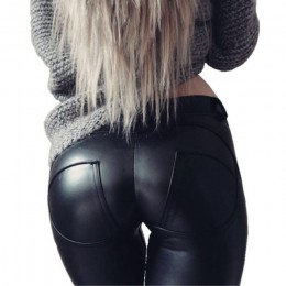 FQLWL Faux Pu Leggings de cuero grueso/Negro/Push Up/Leggings de cintura alta talla grande para mujer Legging de invierno pantal
