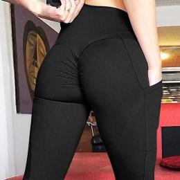 CHRLEISURE Push Up Fitness Leggings Mujer cintura alta entrenamiento Legging con bolsillos Patchwork Leggins Pantalones mujer ro