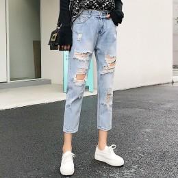 Jeans rasgados para damas azules sueltos Vintage moda femenina mujeres alta cintura nuevo estilo holgado Mom Jeans Mujer pantalo