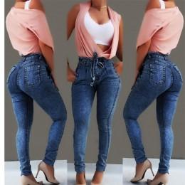 Pantalones vaqueros de cintura alta para mujer Vaqueros ajustados elásticos ceñidos cinturón de borla vendaje ajustado Push Up J