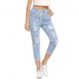 Pantalones de verano de mujer SHEIN pantalones casuales para damas azul rasgado cintura media cordón ceñido vaquero largo de pan