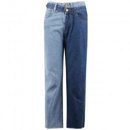 [EAM] nueva primavera 2019 de moda de alta cintura de retazos de Color desmontable azul Jeans rectos pantalones vaqueros de muje