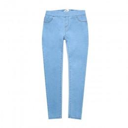 Otoño Invierno minimalista mujeres Denim elástico falso bolsillo delantero media cintura lavado azul Delgado señora Jeans