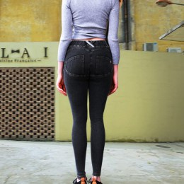 Sexy mujeres Casual Jeans ascensor trasero polainas faldas de cintura baja pantalones vaqueros Push Up cadera lápiz Jeans Mujer
