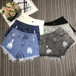 Nuevos pantalones cortos Sexy de cintura alta ceñidos de mezclilla con agujeros rasgados Mini Club DJ de baile talla grande S M