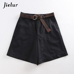 Jielur todo-fósforo 4 fajas de Color sólido pantalones cortos informales de mujer de línea a de cintura alta pantalones cortos d