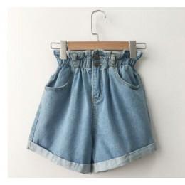 Pantalones cortos de mezclilla de cintura alta de verano de 2018 para mujer Casual holgados de moda con dobladillo elástico de c