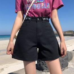Garemay pantalones cortos de mezclilla de mujer clásico Vintage de cintura alta azul pierna ancha mujer Caual verano señoras pan