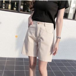 Hzirip 2019 verano Mujer caliente corto moda suelta algodón pierna ancha pantalones cortos Color caramelo Casual pantalones cort