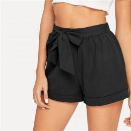 SHEIN auto cinturón cintura elástica pantalones cortos Fitness Swish mujeres ejército verde sólido media cintura pantalones cort