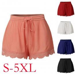 Pantalones cortos de mujer de verano de moda de encaje de talla grande corbatas pantalones cortos de deporte ajustados pantalone