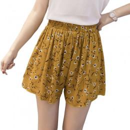 Pantalones cortos sueltos de chifón de estilo bohemio floral para mujer talla grande polka dot shorts verano M30270