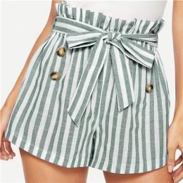 SHEIN azul o verde papel-bolsa plisada cintura abotonada cinturón nudo rayas pantalones cortos mujeres verano Highstreet Preppy